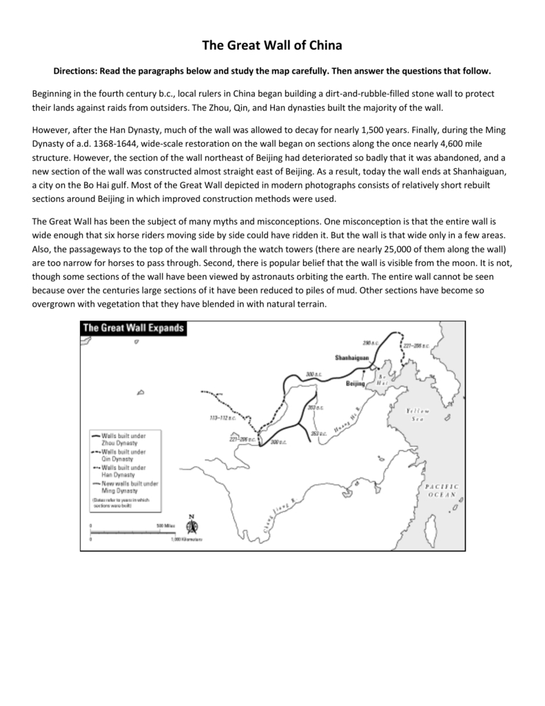 The Great Wall Of China Map Skills Practice Pertaining To Chinese Dynasties Worksheet Pdf