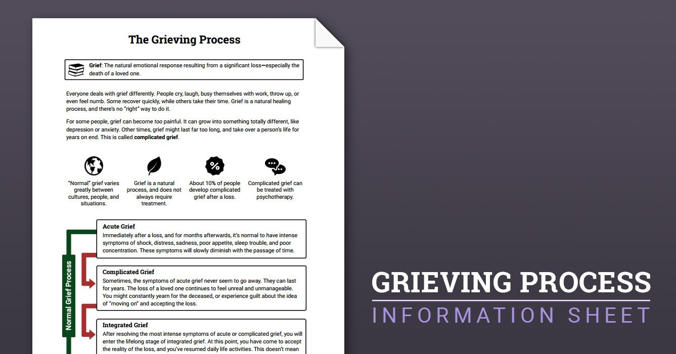 The Grieving Process Worksheet  Therapist Aid Throughout Grief Therapy Worksheets