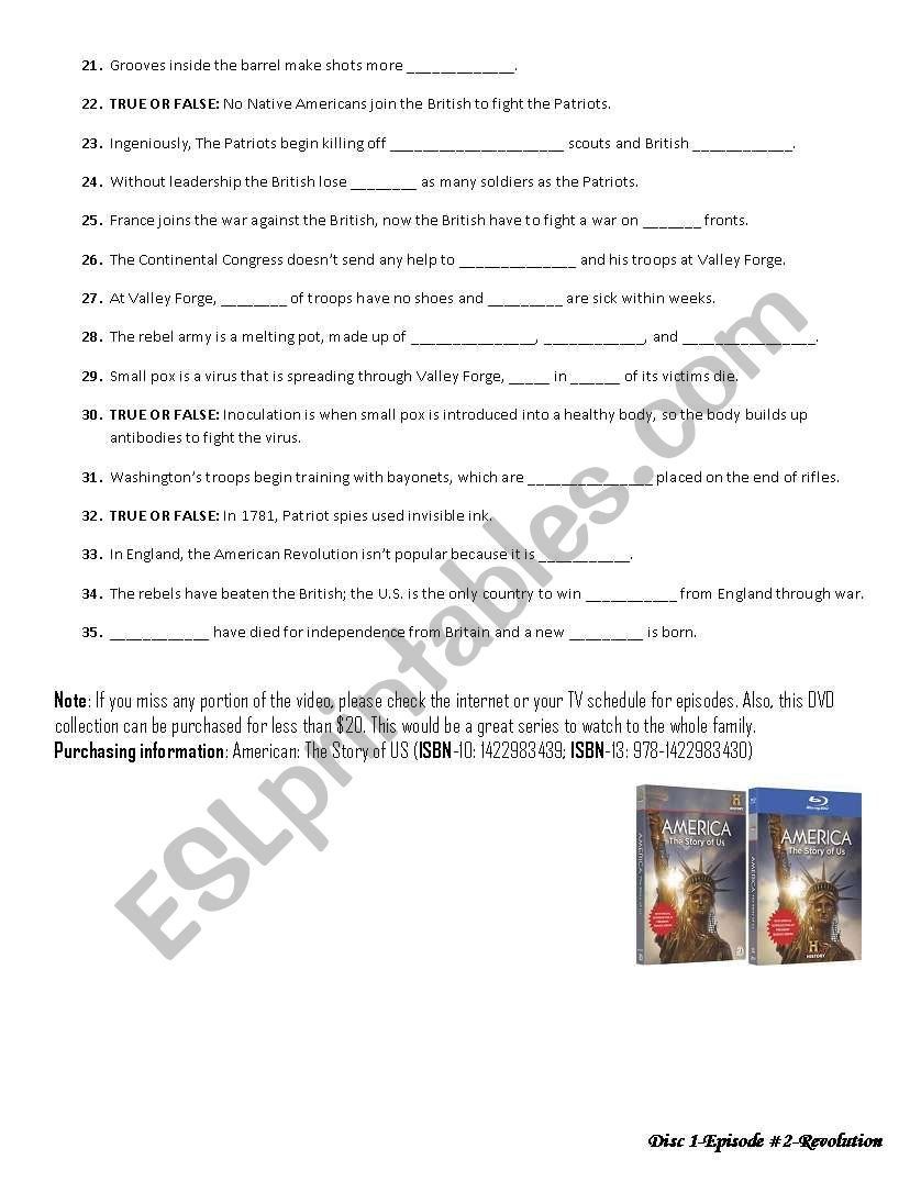 The History Channel America The Story Of Us Episode 2Revolution Throughout America The Story Of Us Episode 2 Worksheet Answer Key