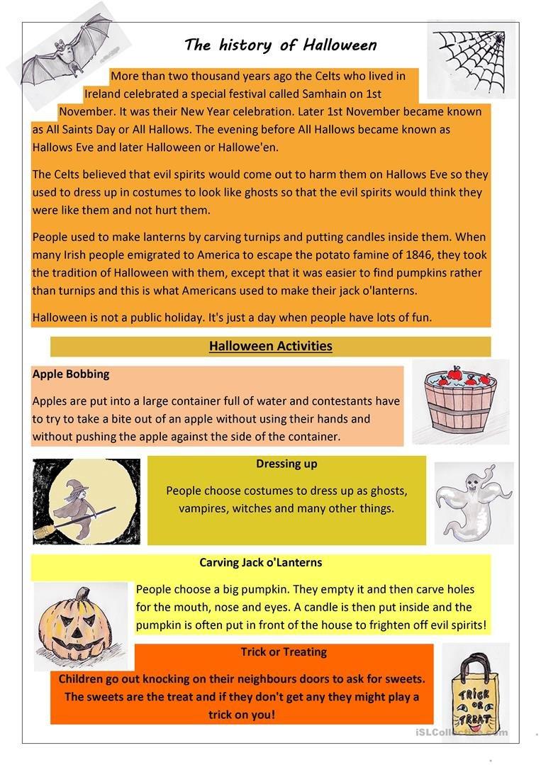 The History Of Halloween Worksheet  Free Esl Printable Worksheets Throughout History Of Halloween Worksheet Answers