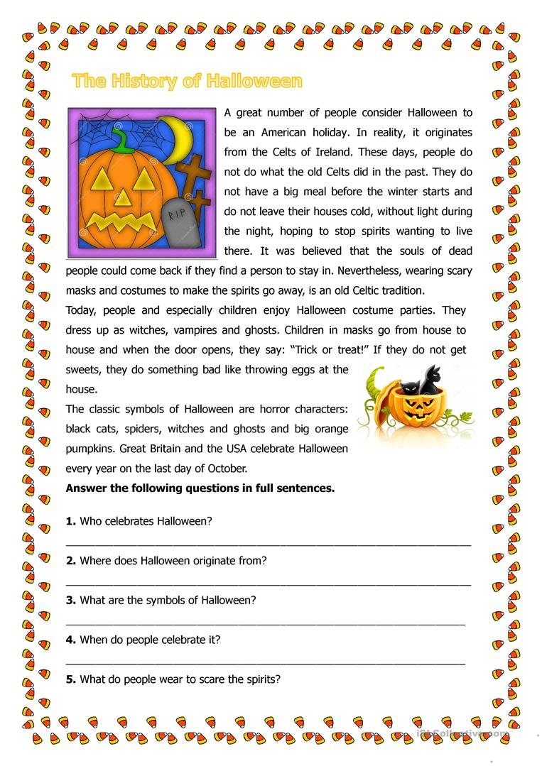 The History Of Halloween Worksheet  Free Esl Printable Worksheets Together With History Of Halloween Worksheet Answers
