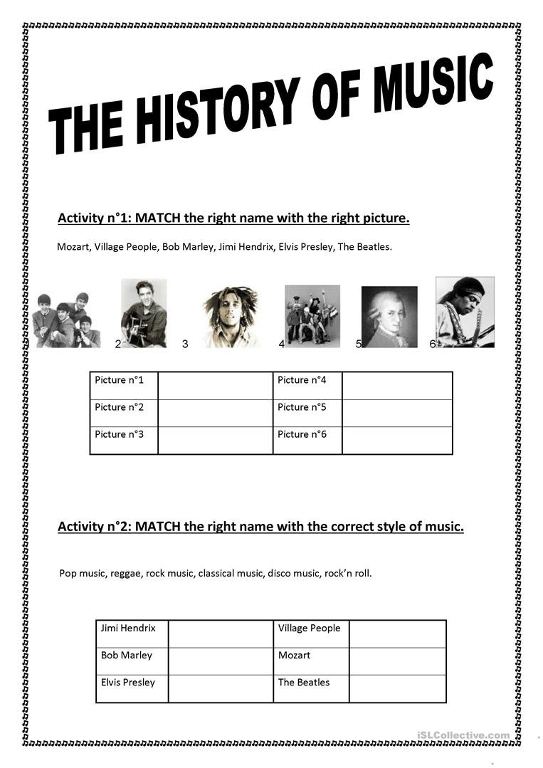 The History Of Music Worksheet  Free Esl Printable Worksheets Made Or Music History Worksheets