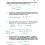 The Ideal And Combined Gas Laws Pv  Nrt Or P1V1 Intended For Combined Gas Law Problems Worksheet Answers