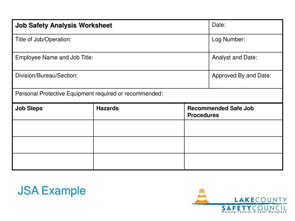 The Job Hazard Analysis  Ppt Download With Job Hazard Analysis Worksheet