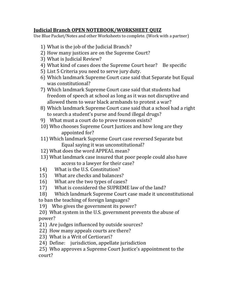 The Judicial Branch Matching Worksheet Answer Key Article 3 Answers Intended For Congress In A Flash Worksheet Answers