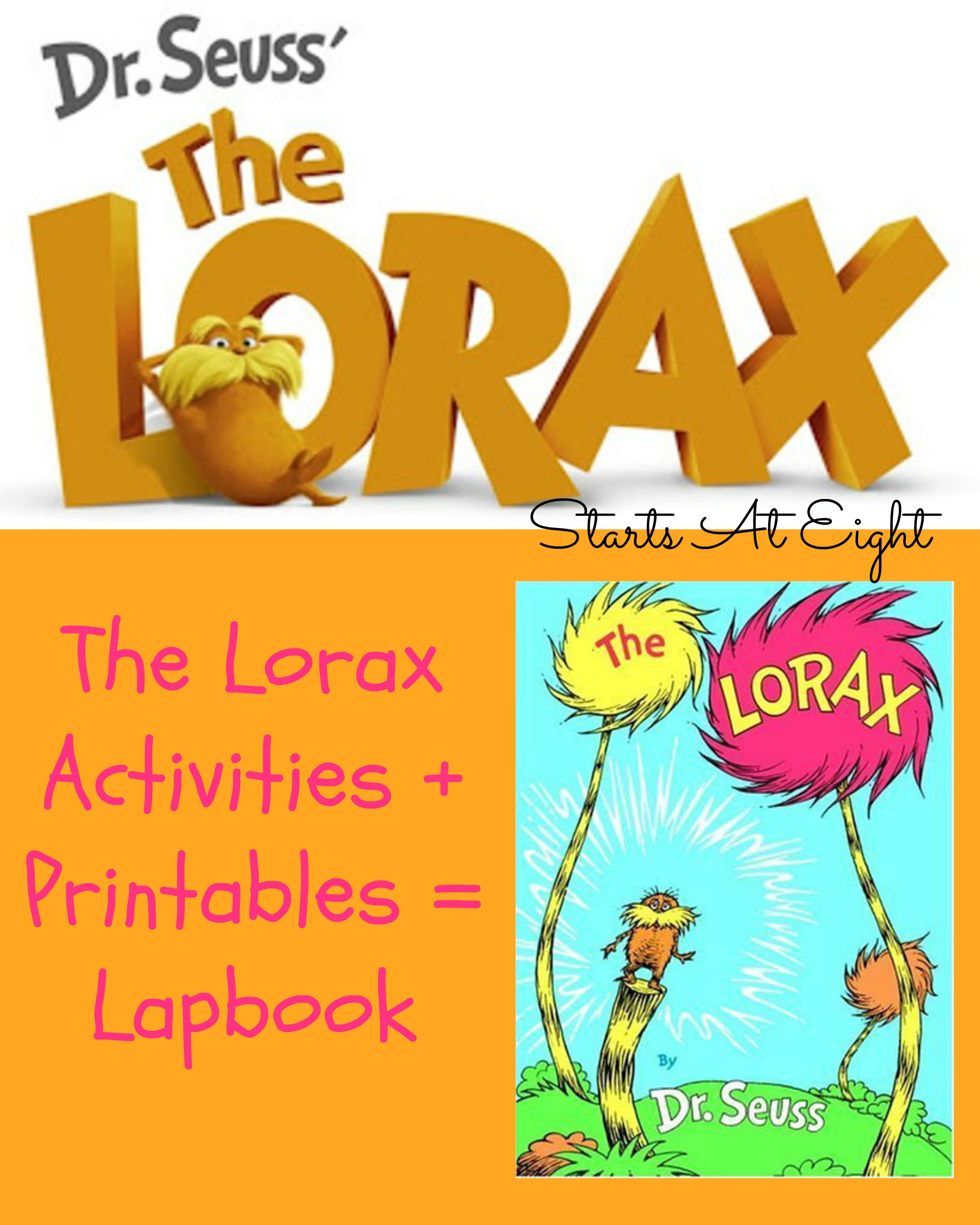 The Lorax Activites  Printables  Lapbook  Startsateight For The Lorax By Dr Seuss Worksheet