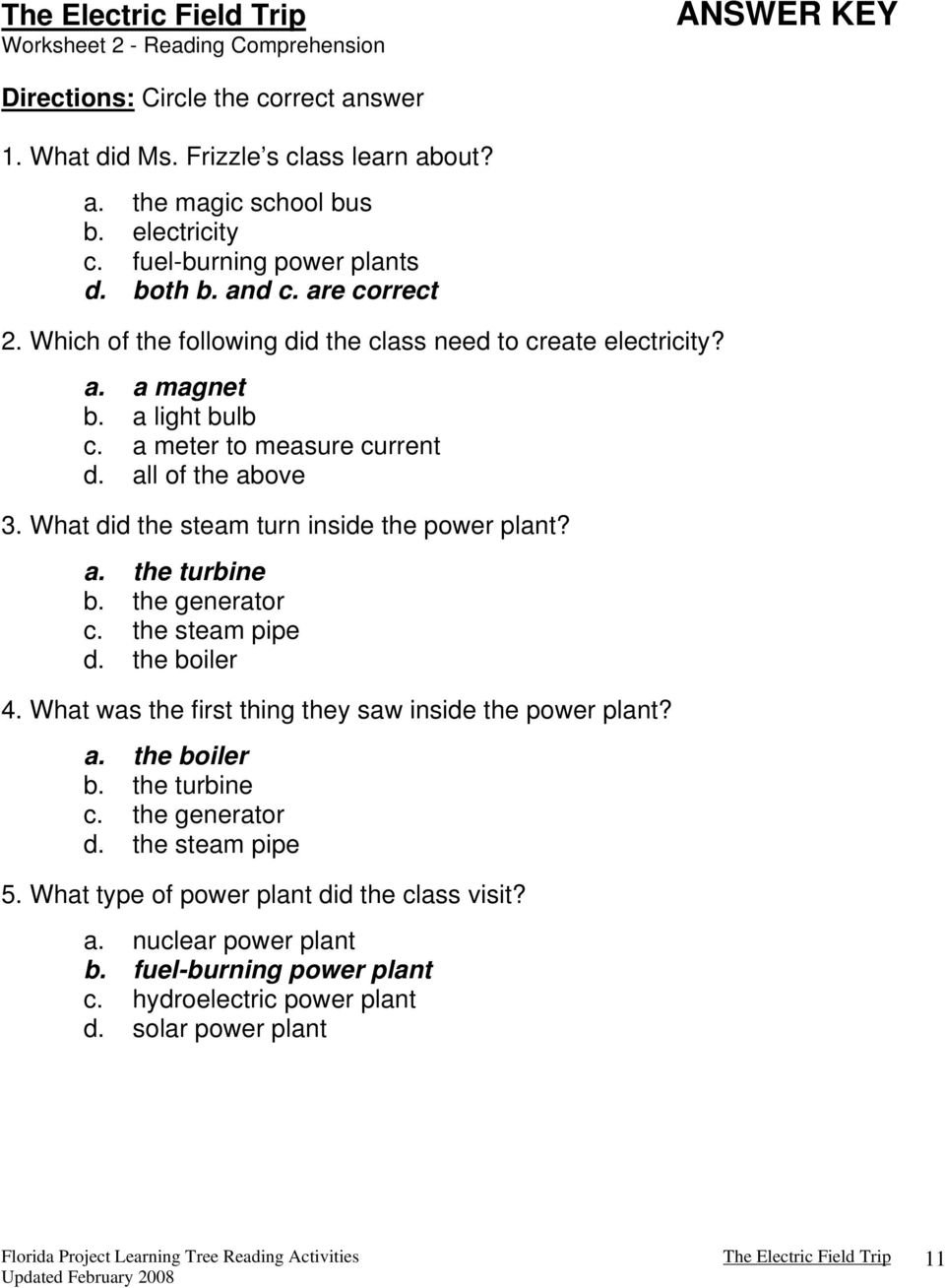 The Magic School Bus And The Electric Field Trip Writtenjoanna And Magic School Bus Gets Planted Worksheet