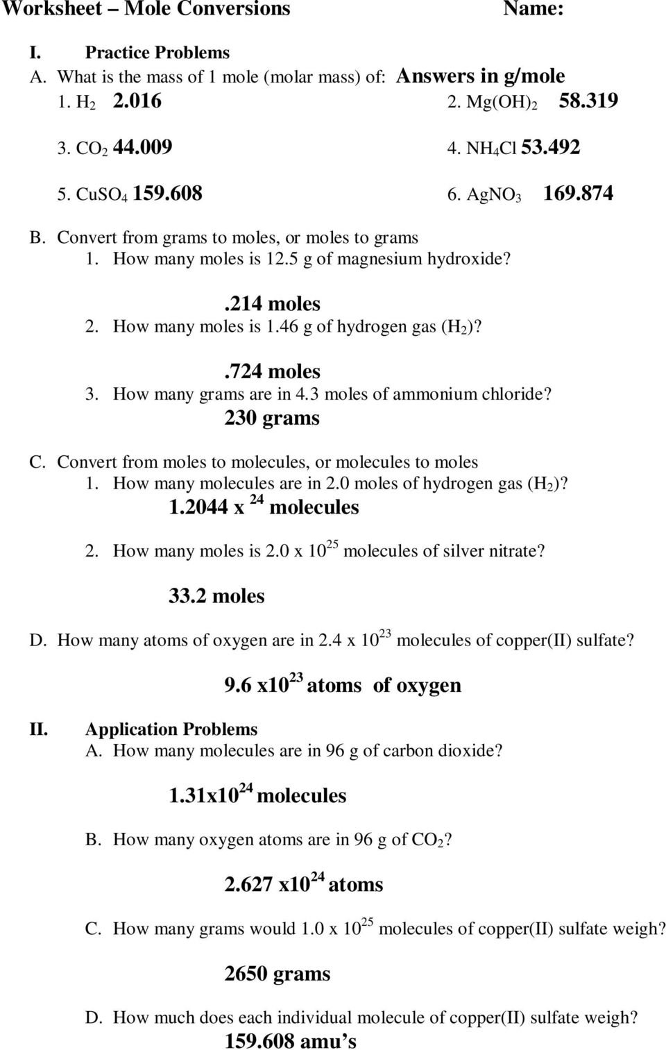 The Mole And Avogadro039S Number Worksheet Answers Deployday The For The Mole And Avogadro039S Number Worksheet Answers