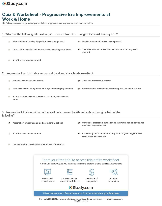The Progressive Era Worksheet Answer Key  Newatvs Inside Reforms Of The Progressive Movement Worksheet Answers