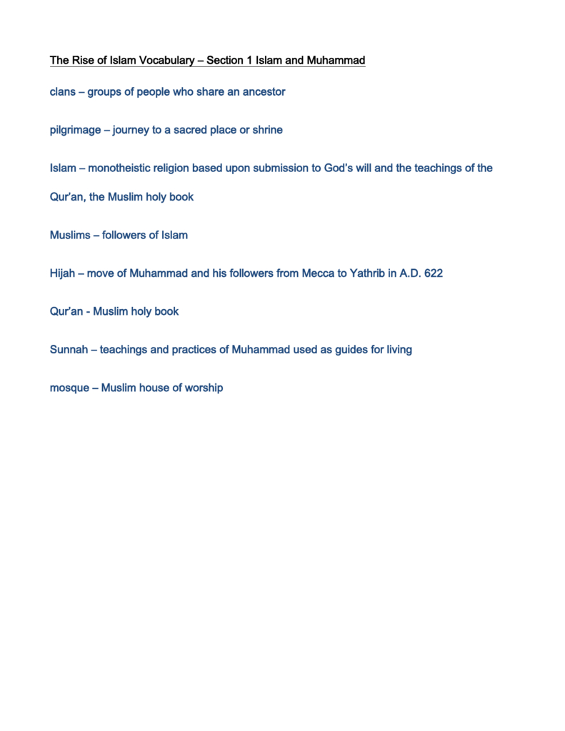 The Rise Of Islam Vocabulary Section 1 Along With Rise Of Islam Worksheet