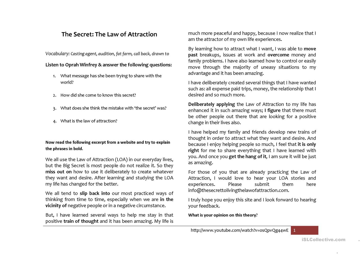 The Secret Law Of Attraction Worksheet  Free Esl Printable For Law Of Attraction Worksheets