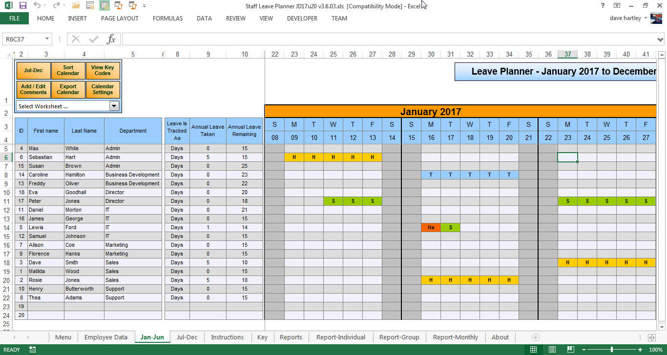 The Staff Leave Calendar. A Simple Excel Planner To Manage Staff ... Regarding Employee Annual Leave Record Spreadsheet