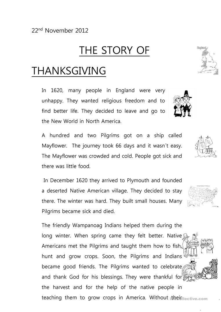 The Story Of Thanksgiving Worksheet  Free Esl Printable Worksheets In Pilgrims Reading Comprehension Worksheet