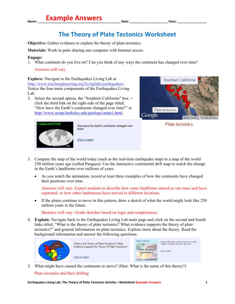 The Theory Of Plate Tectonics Worksheet Example Answers As Well As The Theory Of Plate Tectonics Worksheet