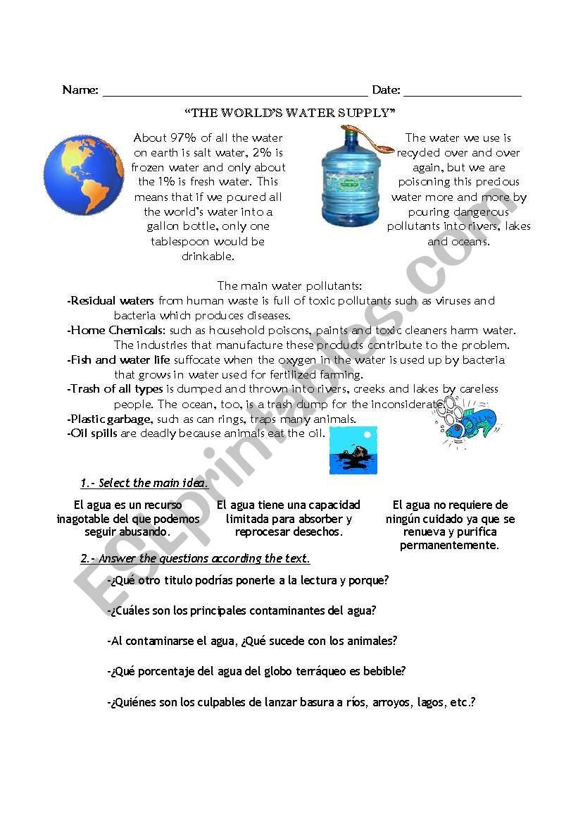 The World's Water Supply  Esl Worksheetjessica87 Intended For Freshwater And Saltwater Worksheets For 2Nd Grade