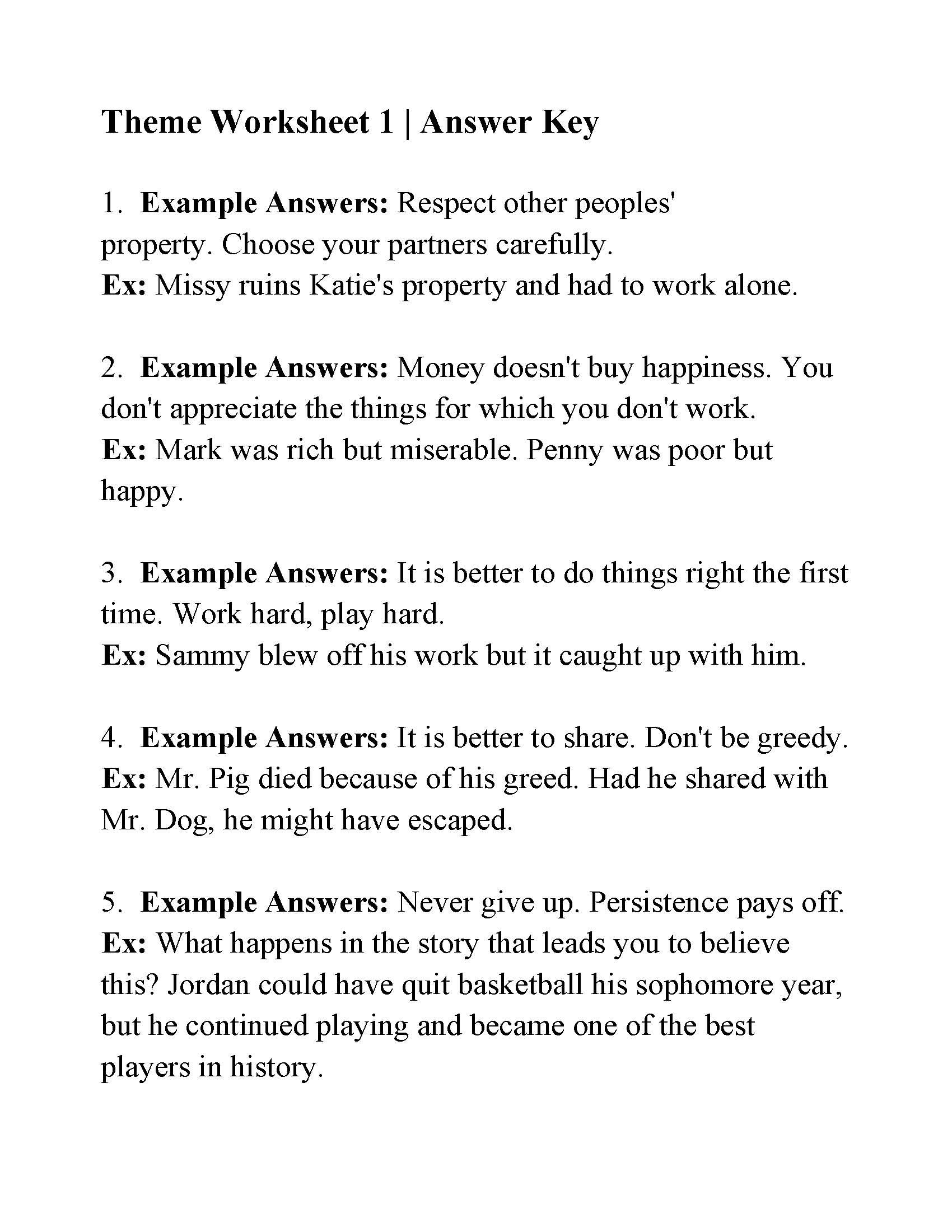 Theme Worksheet 1  Answers Regarding Identifying Theme Worksheets