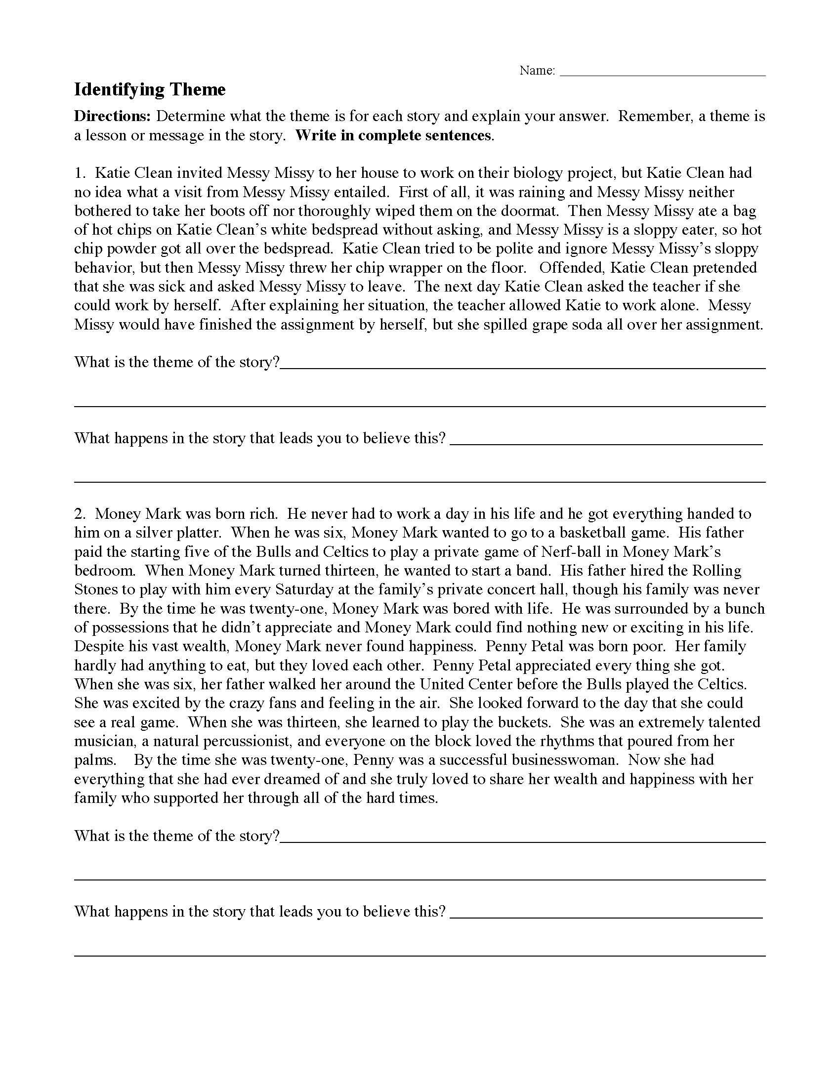Theme Worksheet 1  Preview With Regard To Identifying Theme Worksheets