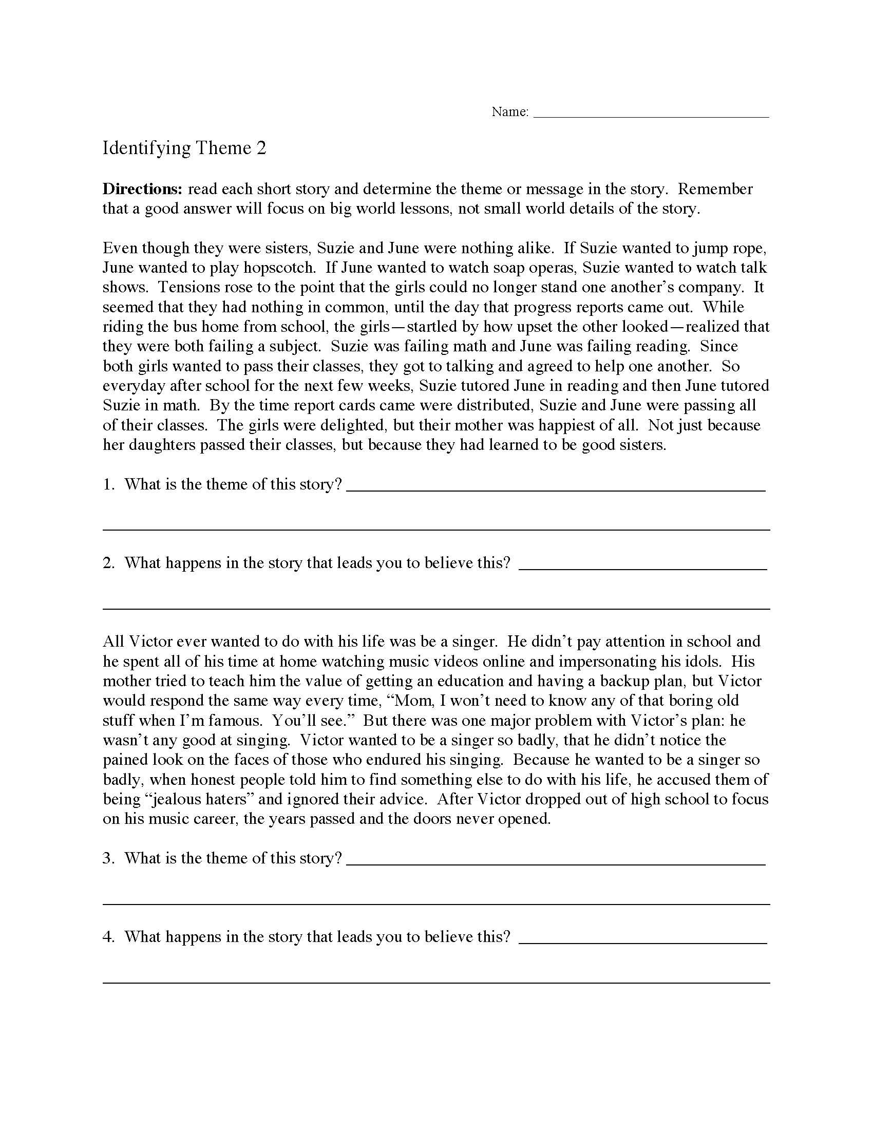 Theme Worksheet 2  Preview Along With Identifying Theme Worksheets