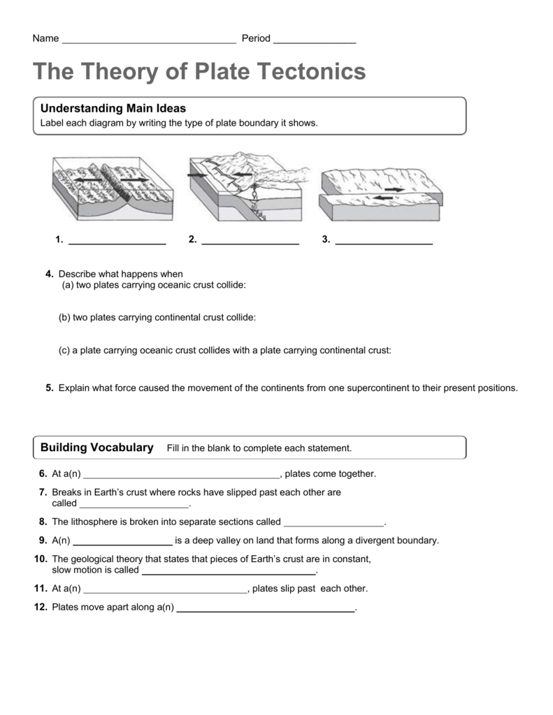 Theory Of Plate Tectonics Worksheet As Well As The Theory Of Plate Tectonics Worksheet