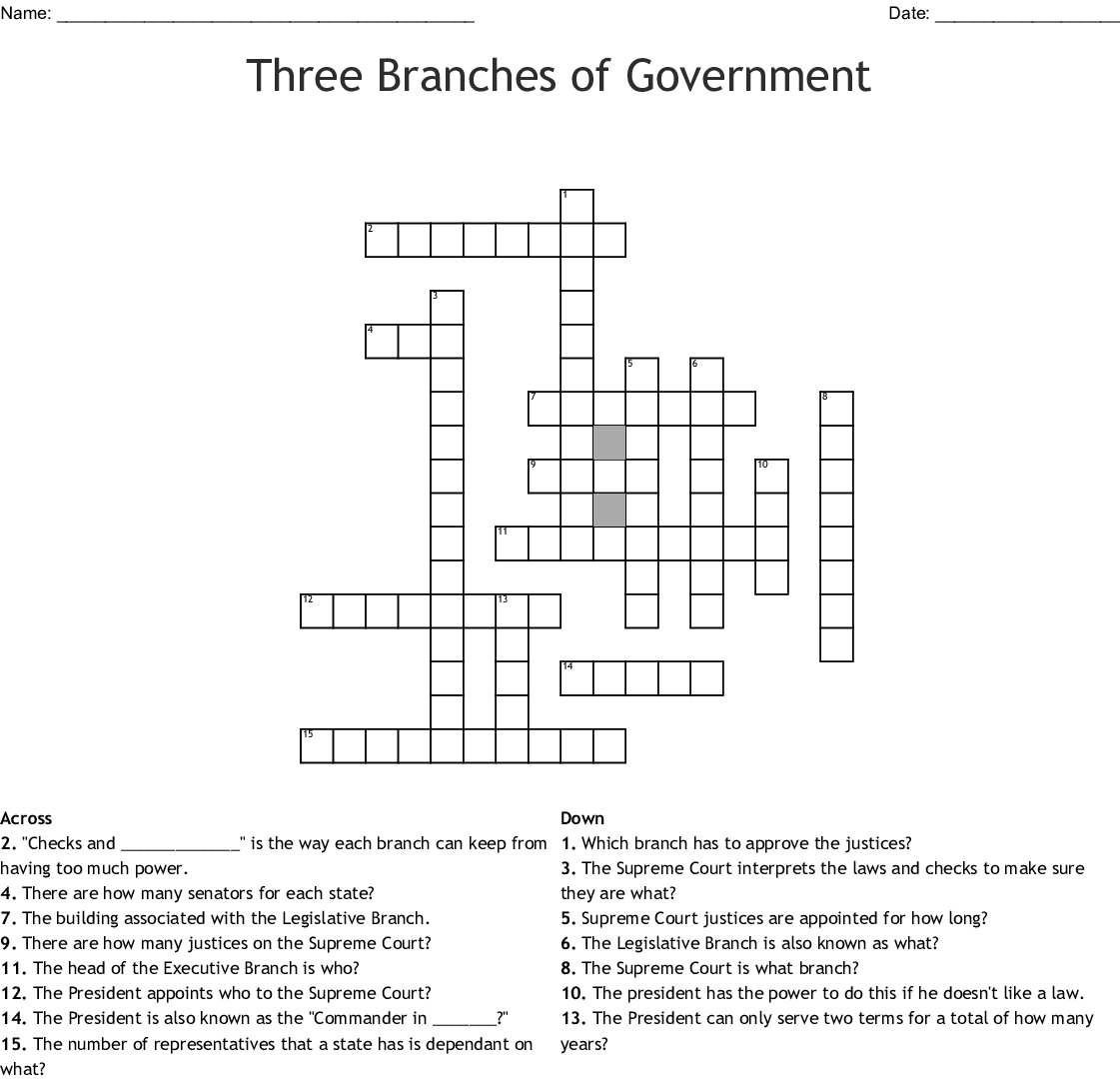 Three Branches Of Government Crossword  Wordmint Throughout Branches Of Government For Kids Worksheet