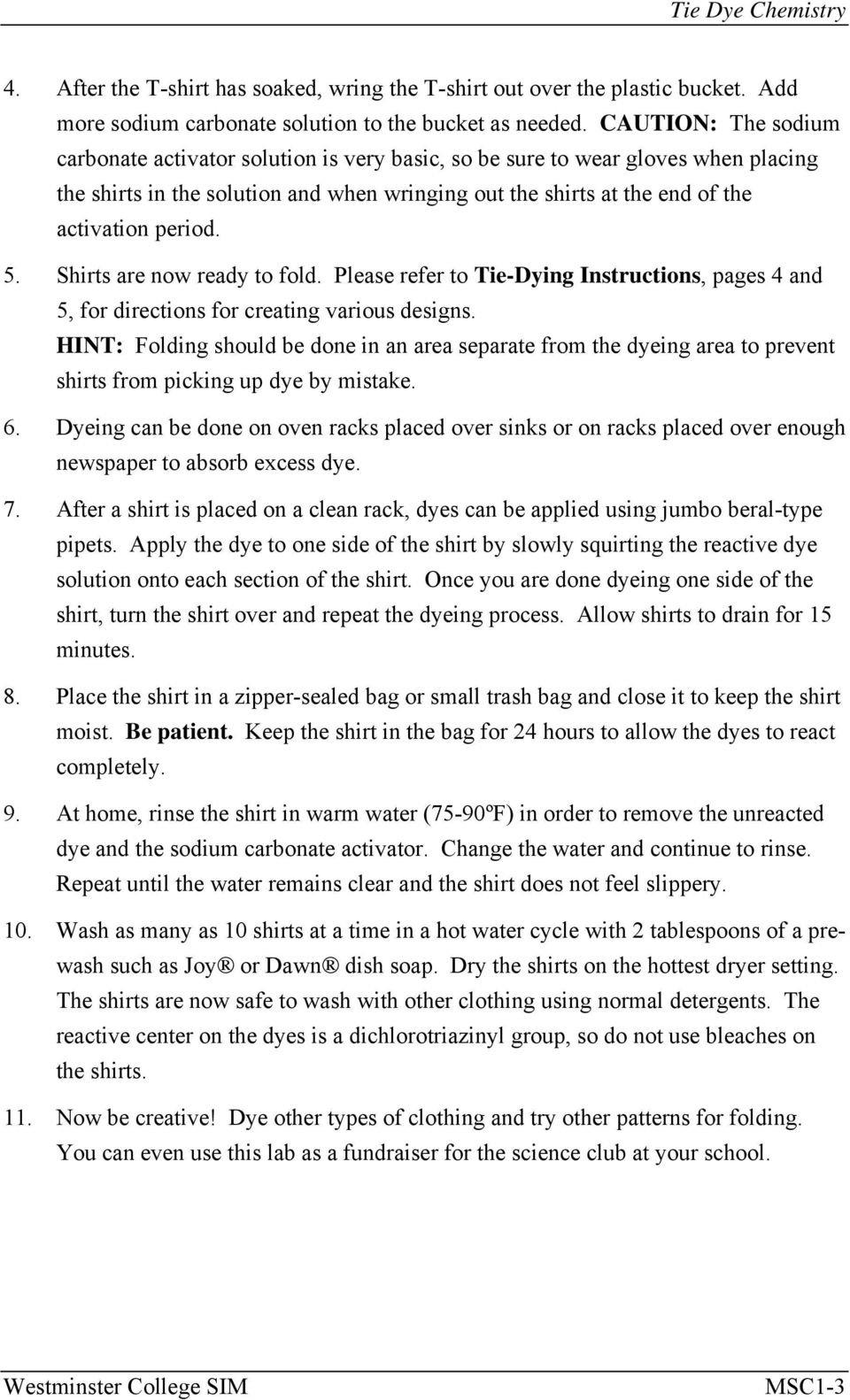 Tie Dye Chemistry Introduction Lab Msc 1 From Flinn Chem Fax Within Chemistry Of Tie Dye Worksheet