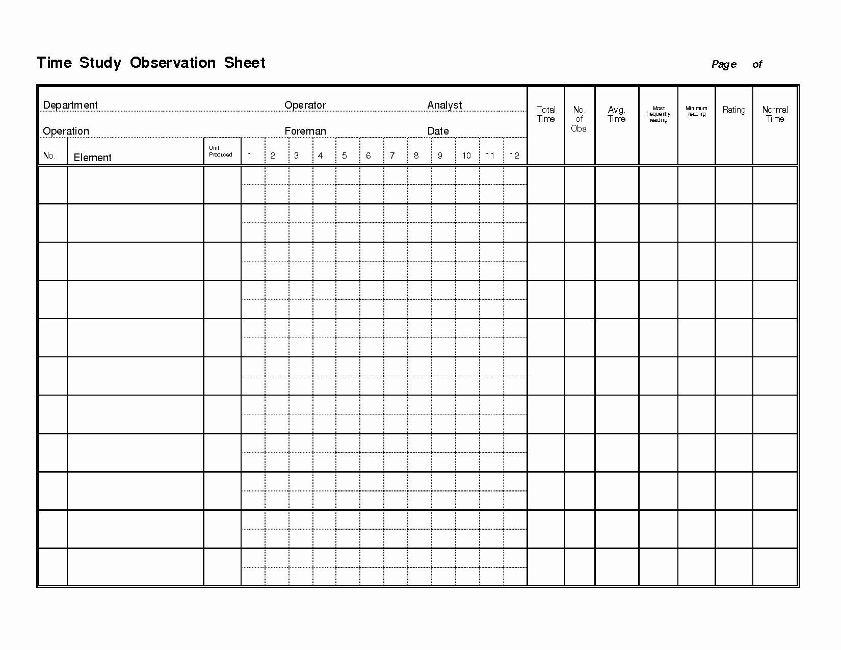 Time Study Worksheet  Yooob In Time Study Worksheet