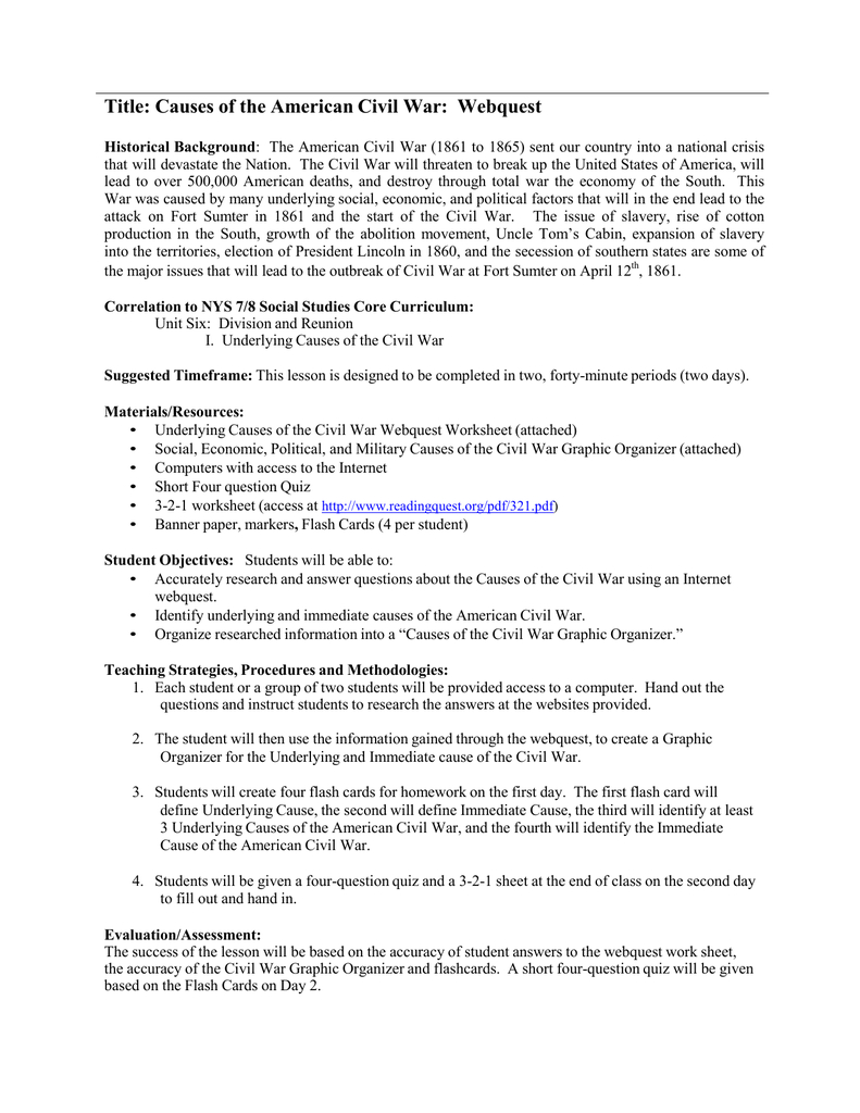 Title Causes Of The American Civil War Webquest Throughout Causes Of The Civil War Worksheet