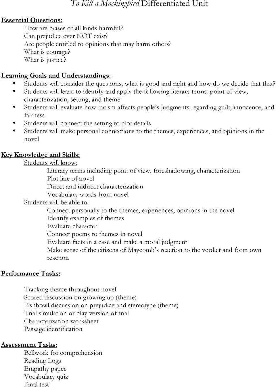 To Kill A Mockingbird Differentiated Unit  Pdf Pertaining To To Kill A Mockingbird Theme Worksheet