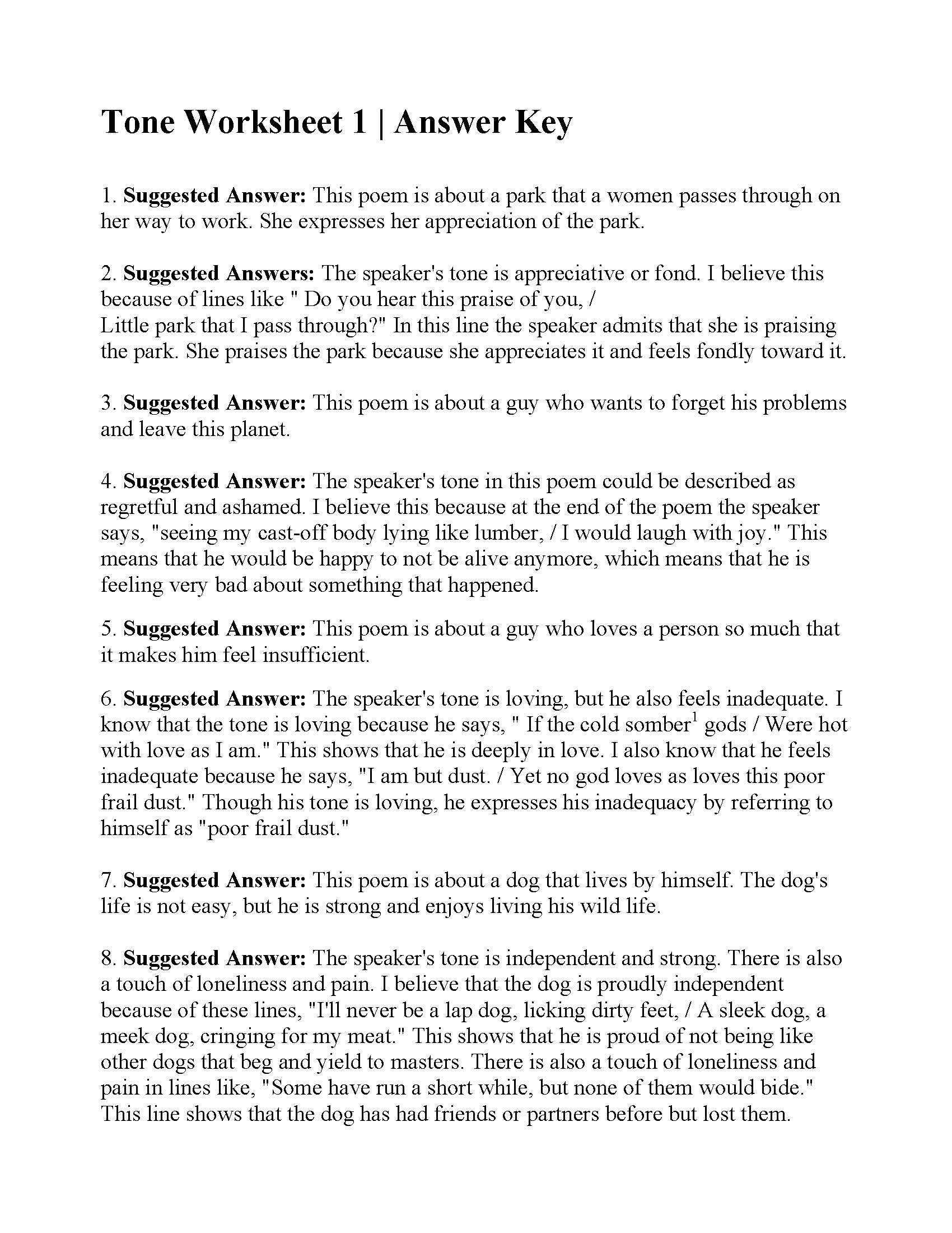 Tone Worksheet 1  Answers With Poetry Worksheet 1