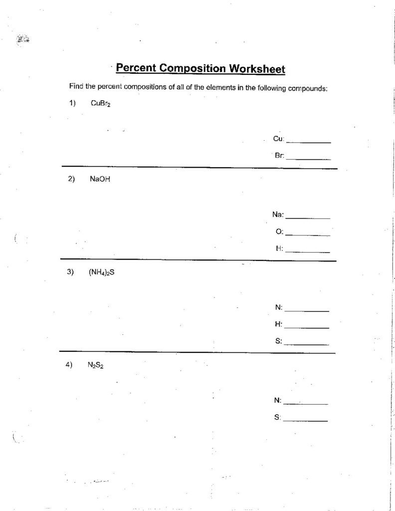 Topic6Percent Composition Worksheetcglass  St Mary's Springs For Percent Composition Worksheet