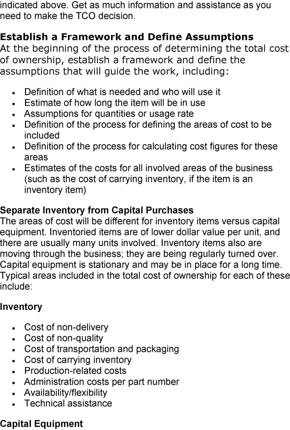 Total Cost Of Ownership  Pdf Inside The True Cost Of Ownership Worksheet Answers