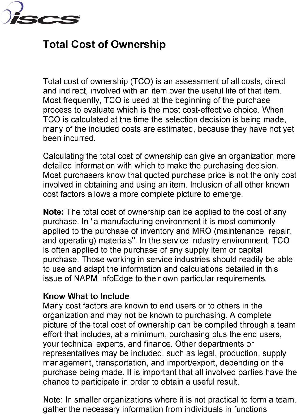 Total Cost Of Ownership  Pdf Regarding The True Cost Of Ownership Worksheet Answers