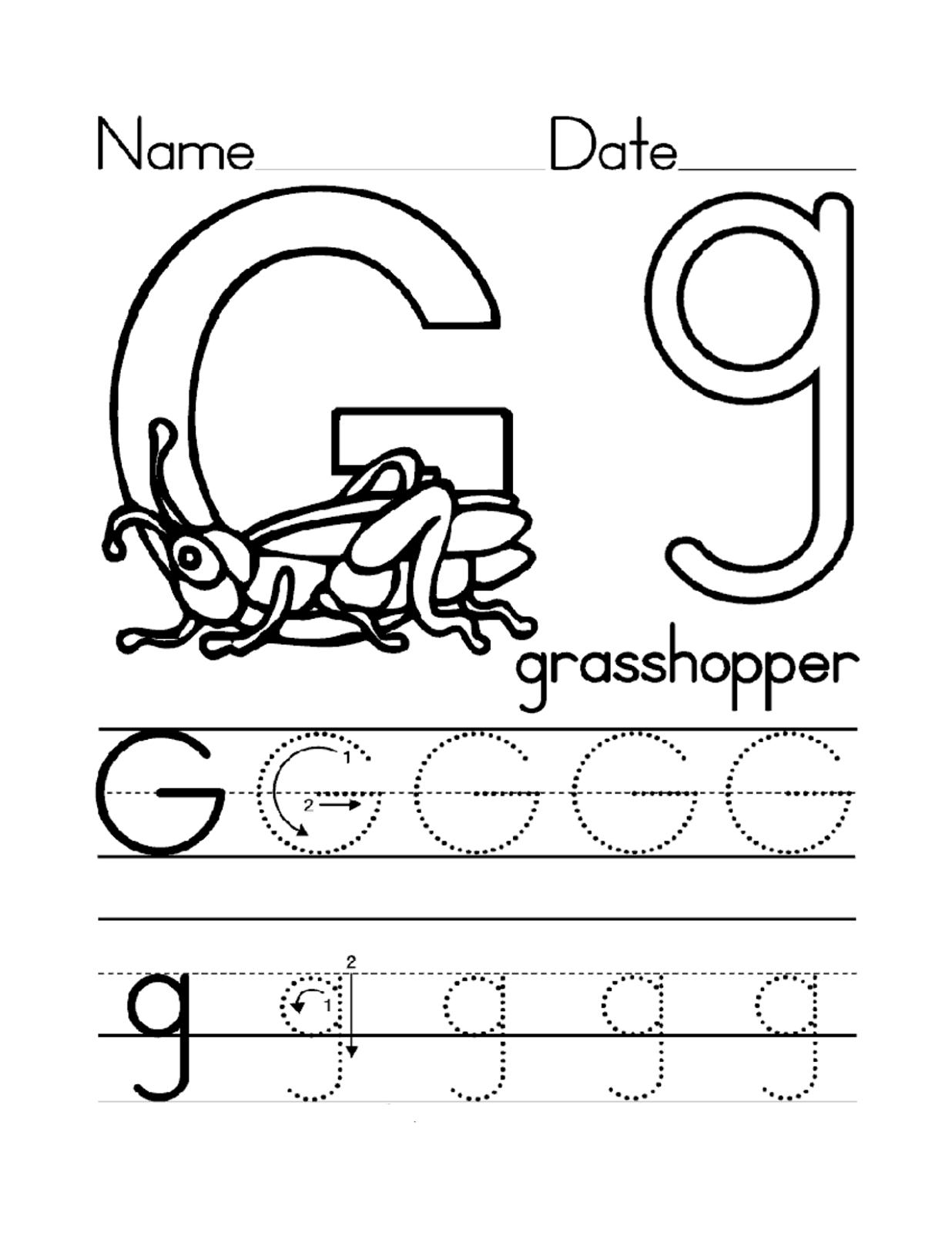 Trace Letter G Worksheets  Activity Shelter Regarding Letter G Tracing Worksheets Preschool