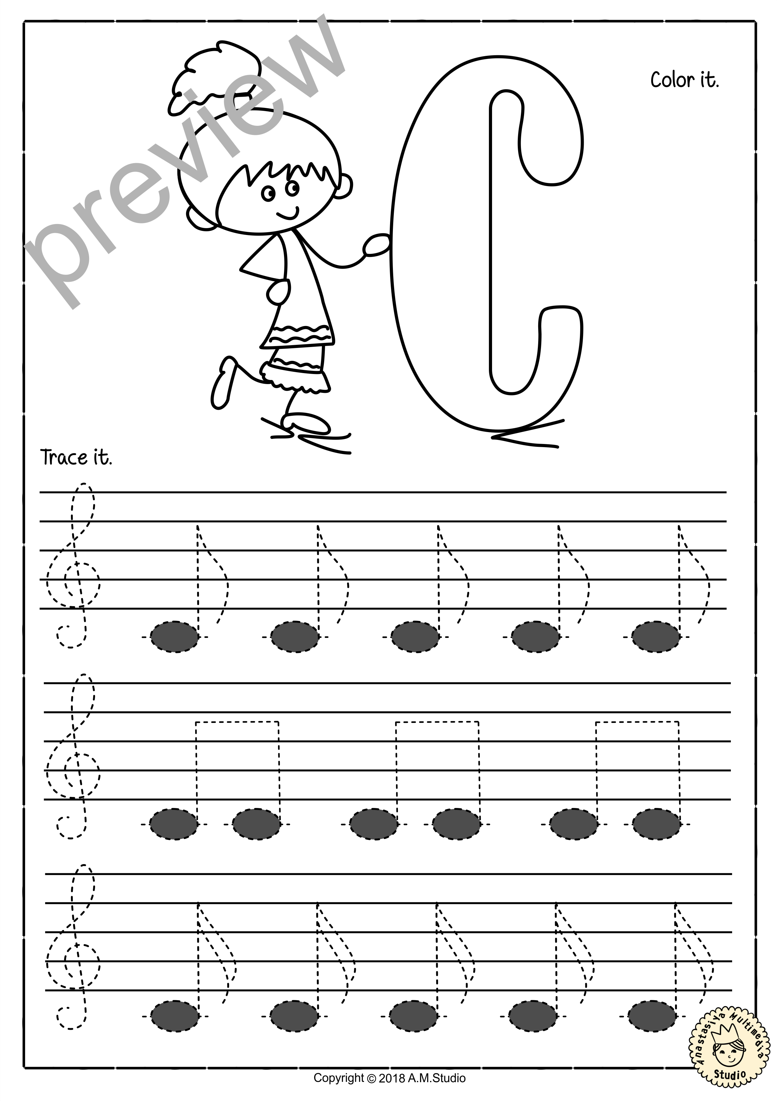 Tracing Music Notes Worksheets For Kids Treble Clef3  Anastasiya Inside Music Worksheets For Kids