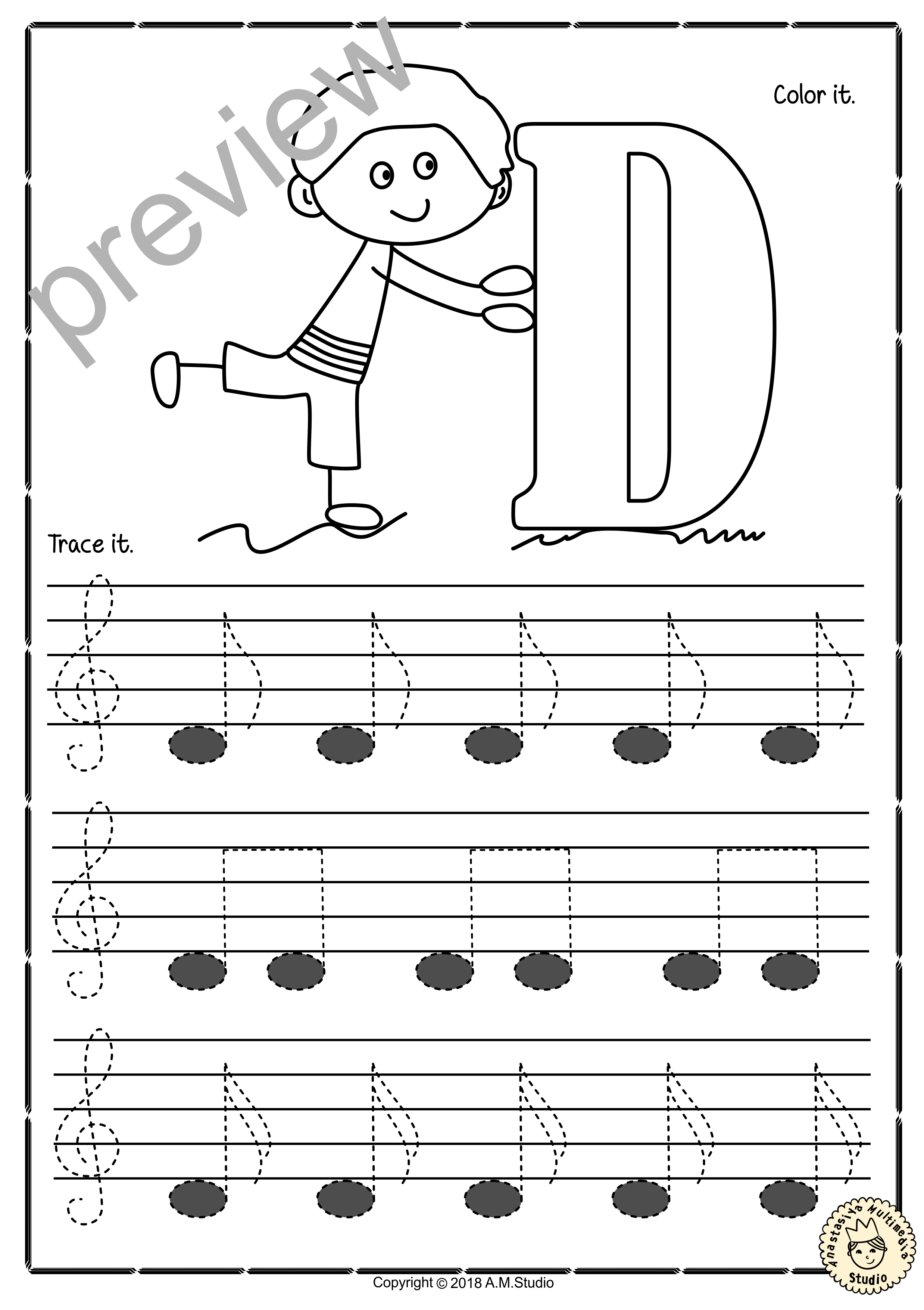 Tracing Music Notes Worksheets For Kids Treble Clef5  Anastasiya For Music Worksheets For Kids