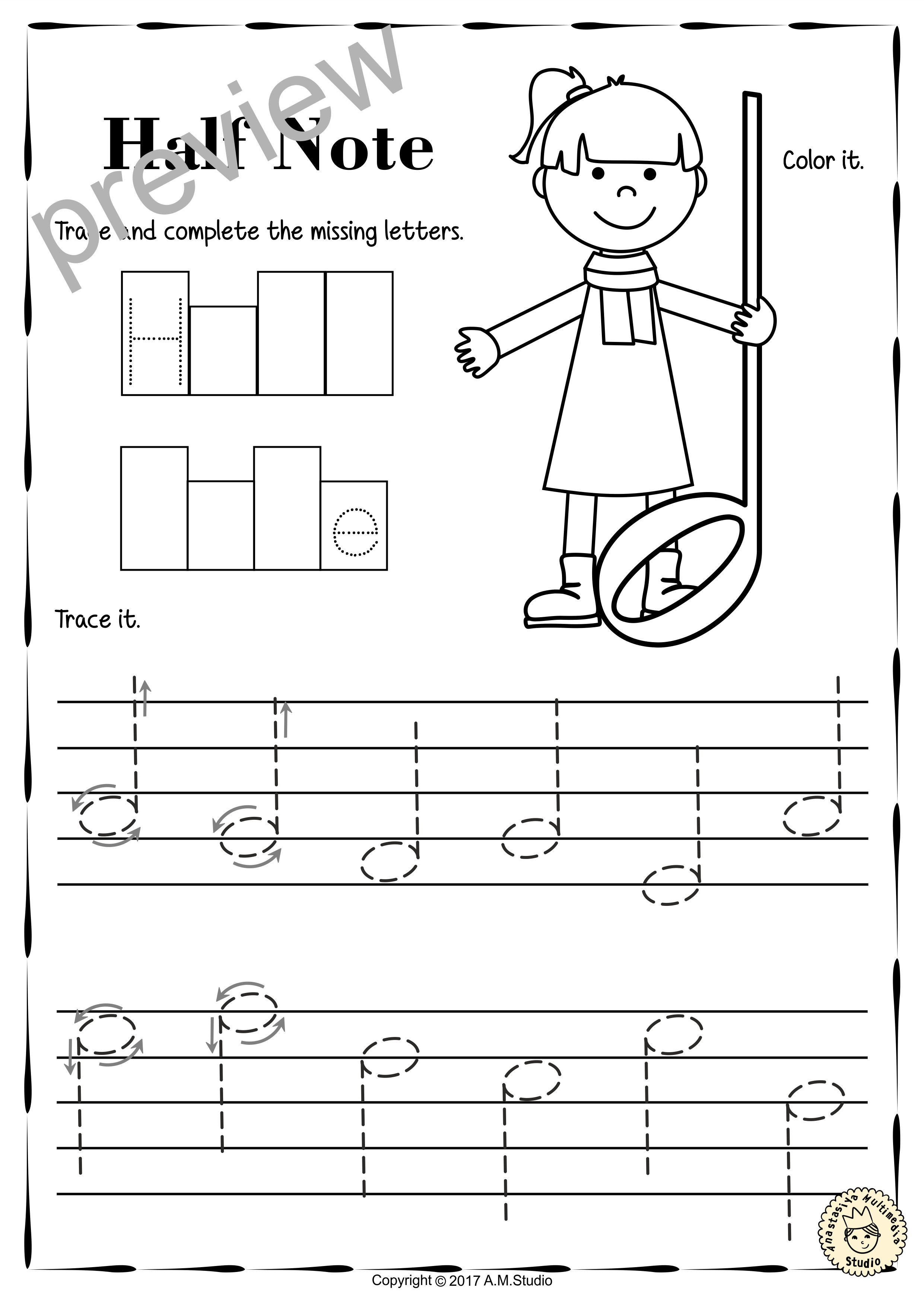 Tracing Music Notes Worksheets For Kids4  Anastasiya Multimedia Studio For Music Worksheets For Kids