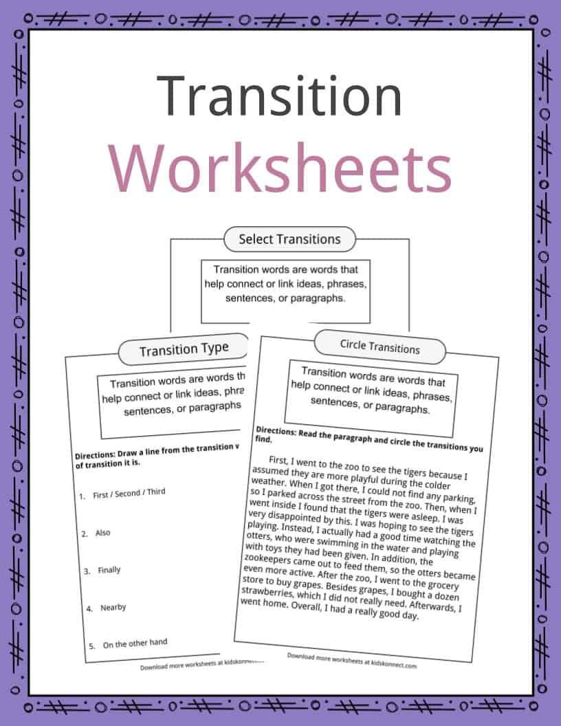 Transition Words Worksheets Examples  Definition For Kids For Transition Words Worksheet High School