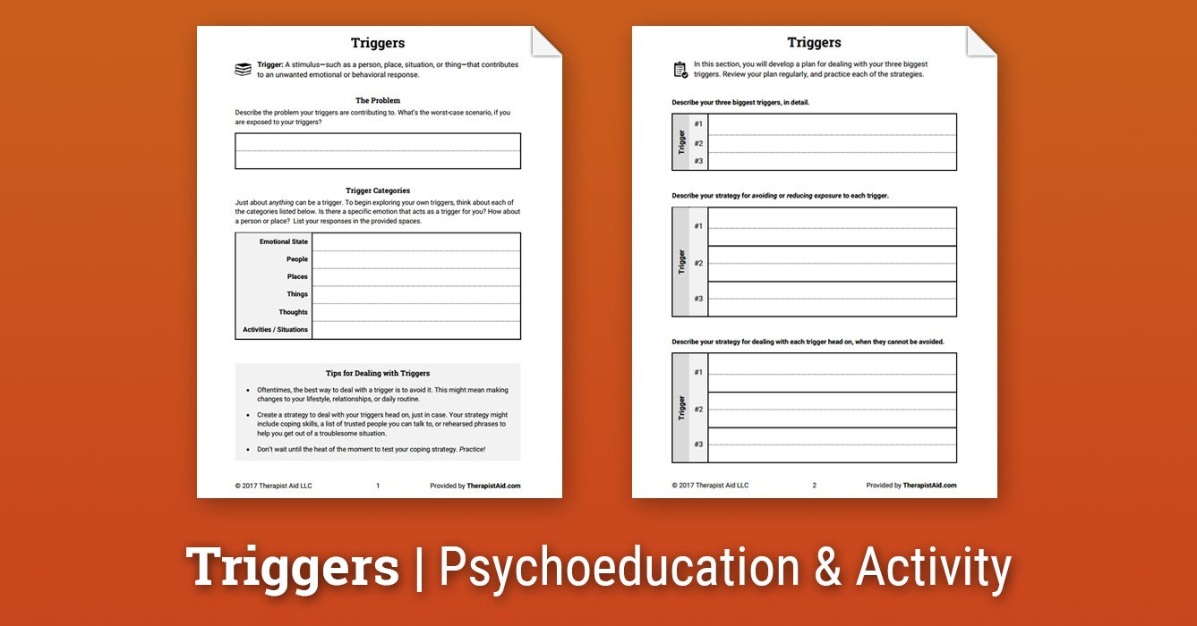 Triggers Worksheet  Therapist Aid Intended For Therapy Aide Worksheets