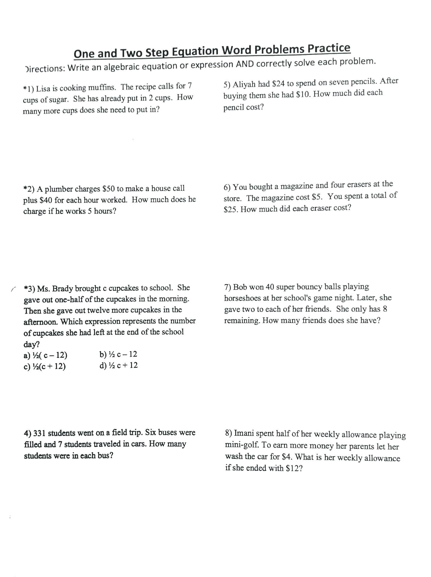 Two Step Equations Word Problems Worksheet  Soccerphysicsonline In Two Step Equations Word Problems Worksheet