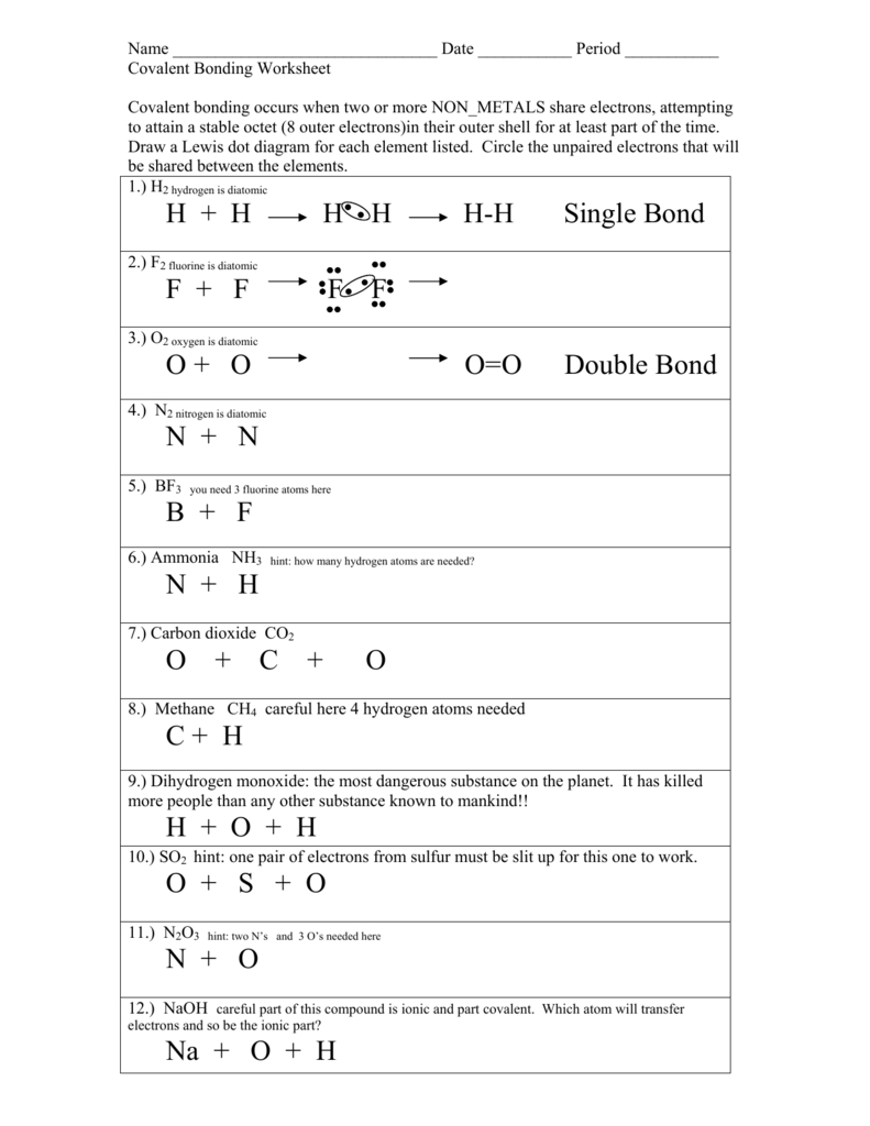 Types Of Chemical Bonds Worksheet With Types Of Chemical Bonds Worksheet Answers