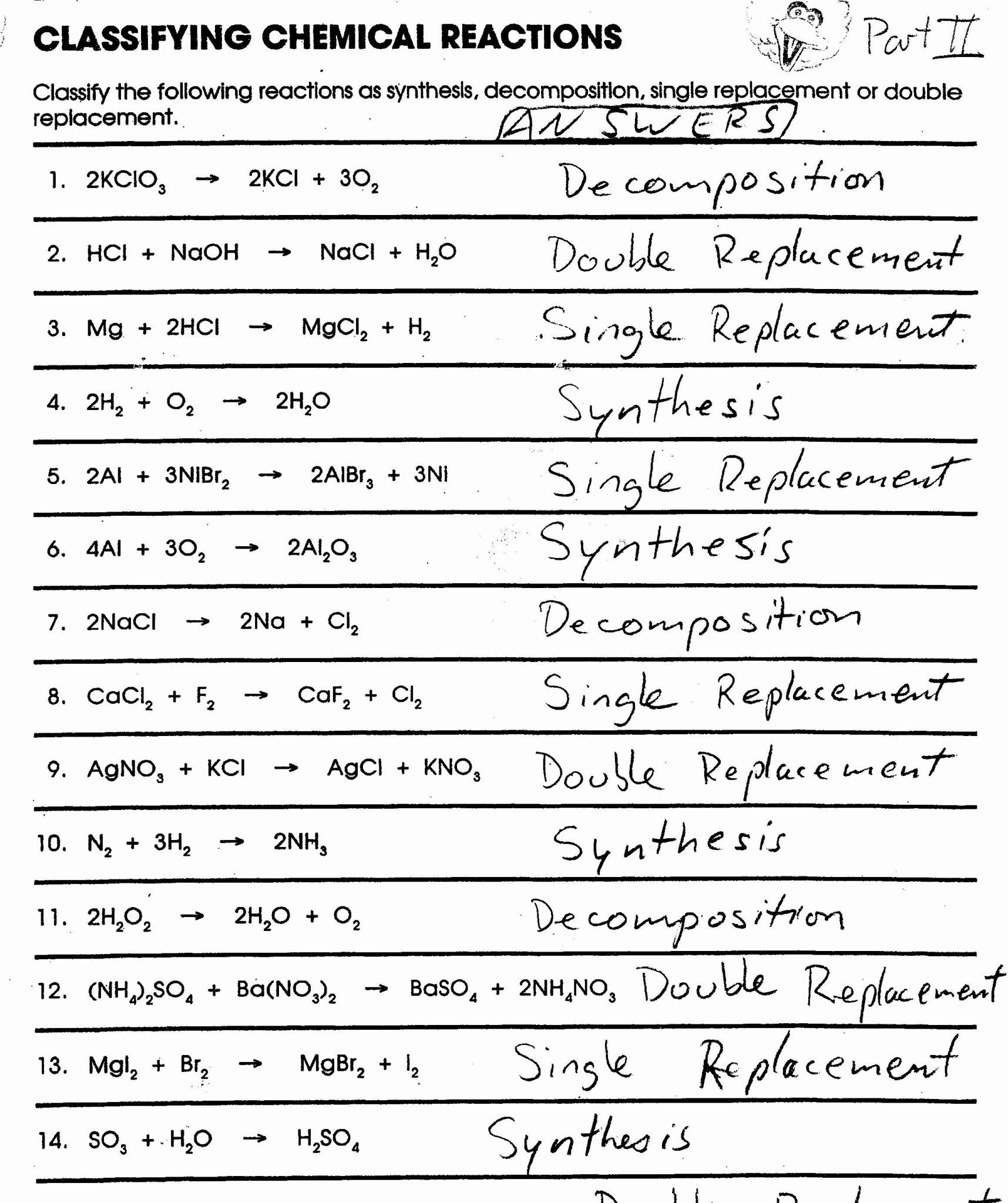 Types Of Chemical Reaction Worksheet Ch 7 Answers  Briefencounters For Types Of Chemical Reaction Worksheet Ch 7