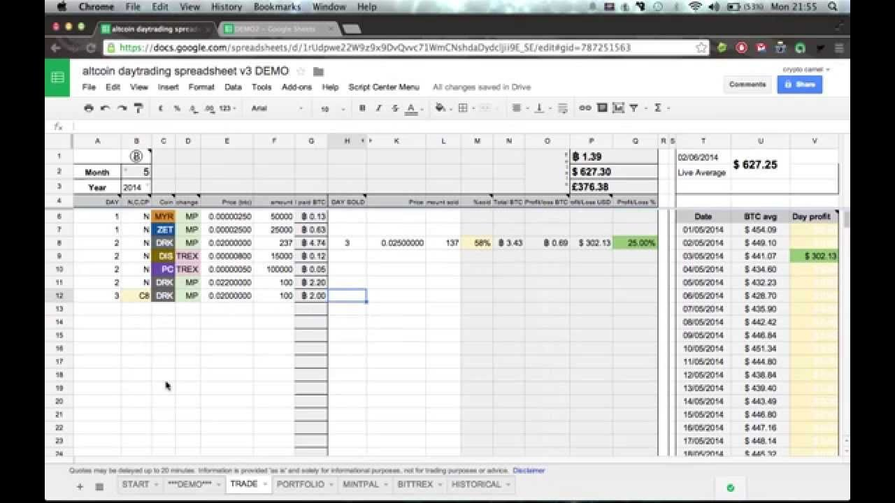 Ultimate Altcoin Daytraders Spreadsheet Demo :) (1Of3)   Youtube For Crypto Day Trading Spreadsheet
