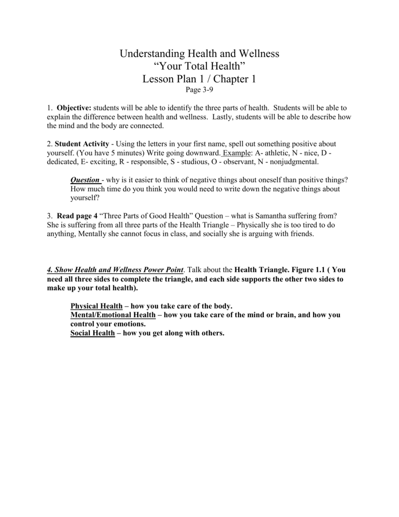 Understanding Health And Wellness With Regard To Chapter 1 Understanding Health And Wellness Worksheet Answers