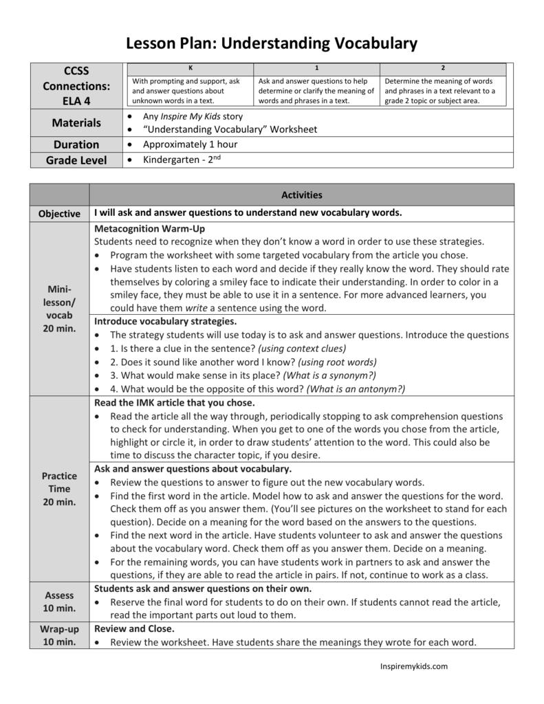 Understanding Vocabulary Grades K2 Ela Ri4 For Ri 4 4 Worksheets