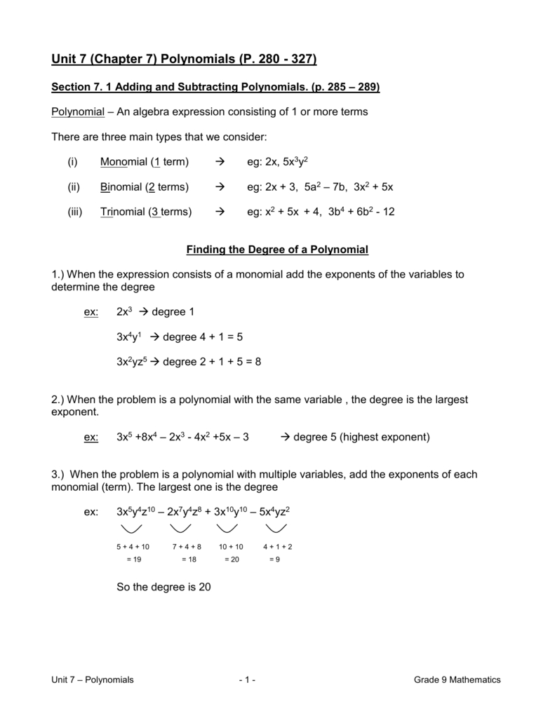 Unit 7 Chapter 7 Polynomials P Inside Unit 2 Worksheet 8 Factoring Polynomials Answer Key