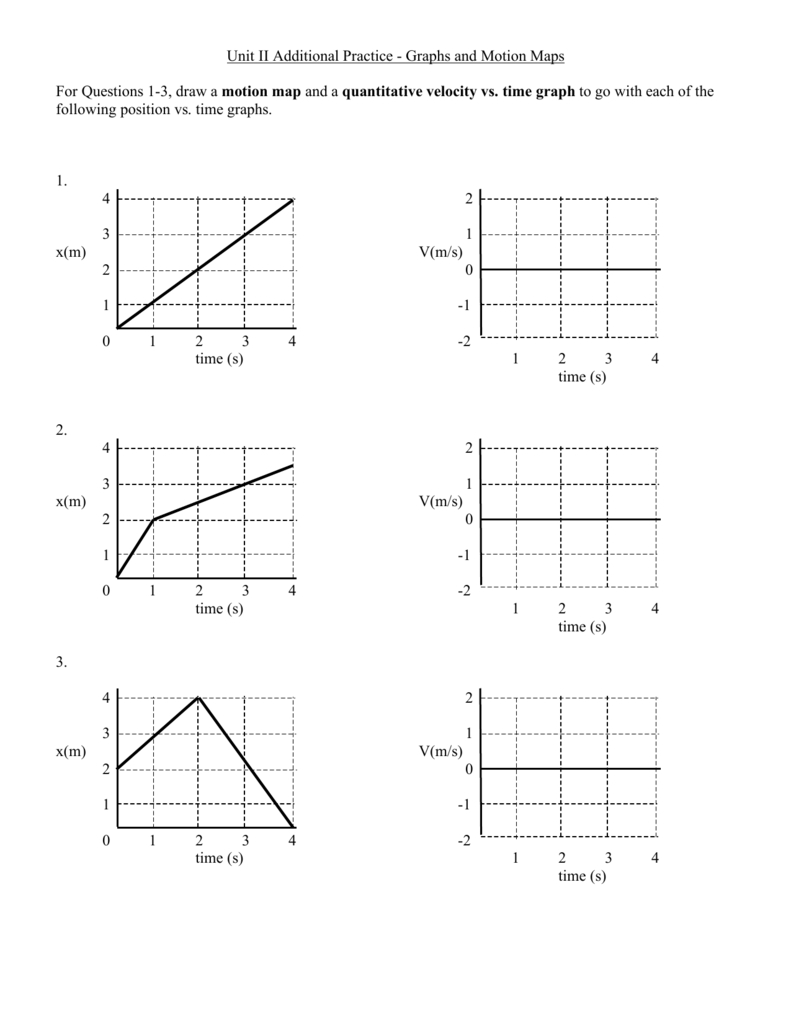 Unit Ii Additional Practice  Graphs And Motion Maps For Regarding Motion Graph Analysis Worksheet