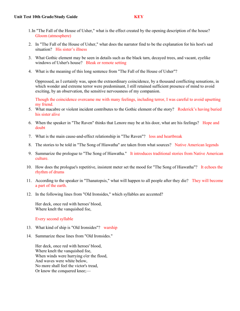 """Unit Test 10Th Gradestudy Guide Key In """"the Fall Of The House Of As Well As Fall Of The House Of Usher Worksheet Answers"""