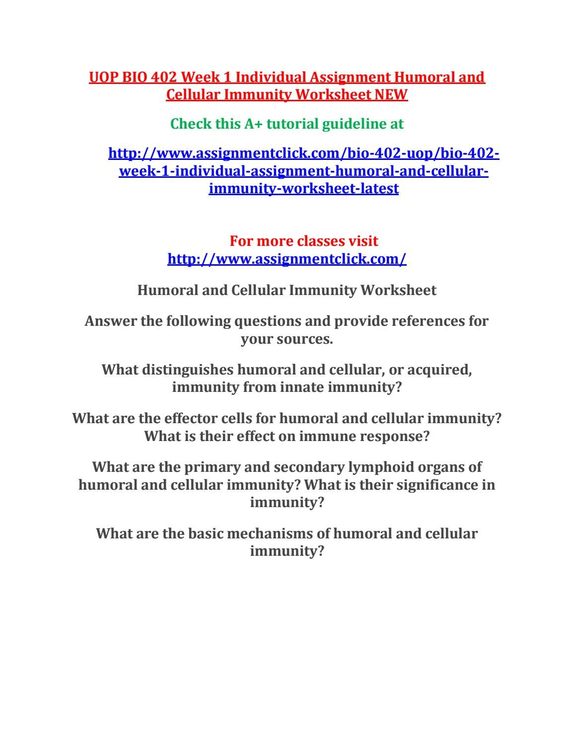 Uop Bio 402 Week 1 Individual Assignment Humoral And Cellular As Well As Primary And Secondary Immune Response Worksheet Answers
