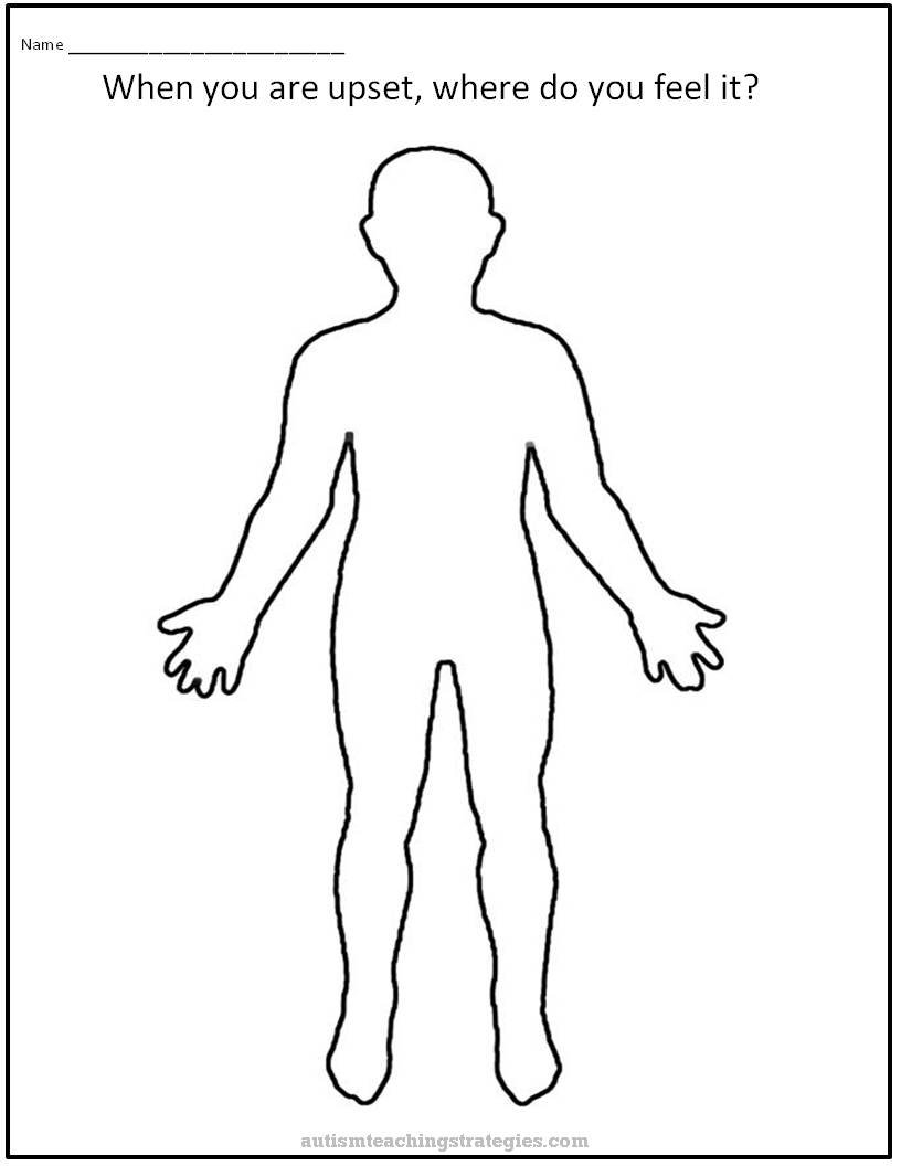 Upset Body Worksheet To Help Kids With Asd Together With Body Image Therapy Worksheet