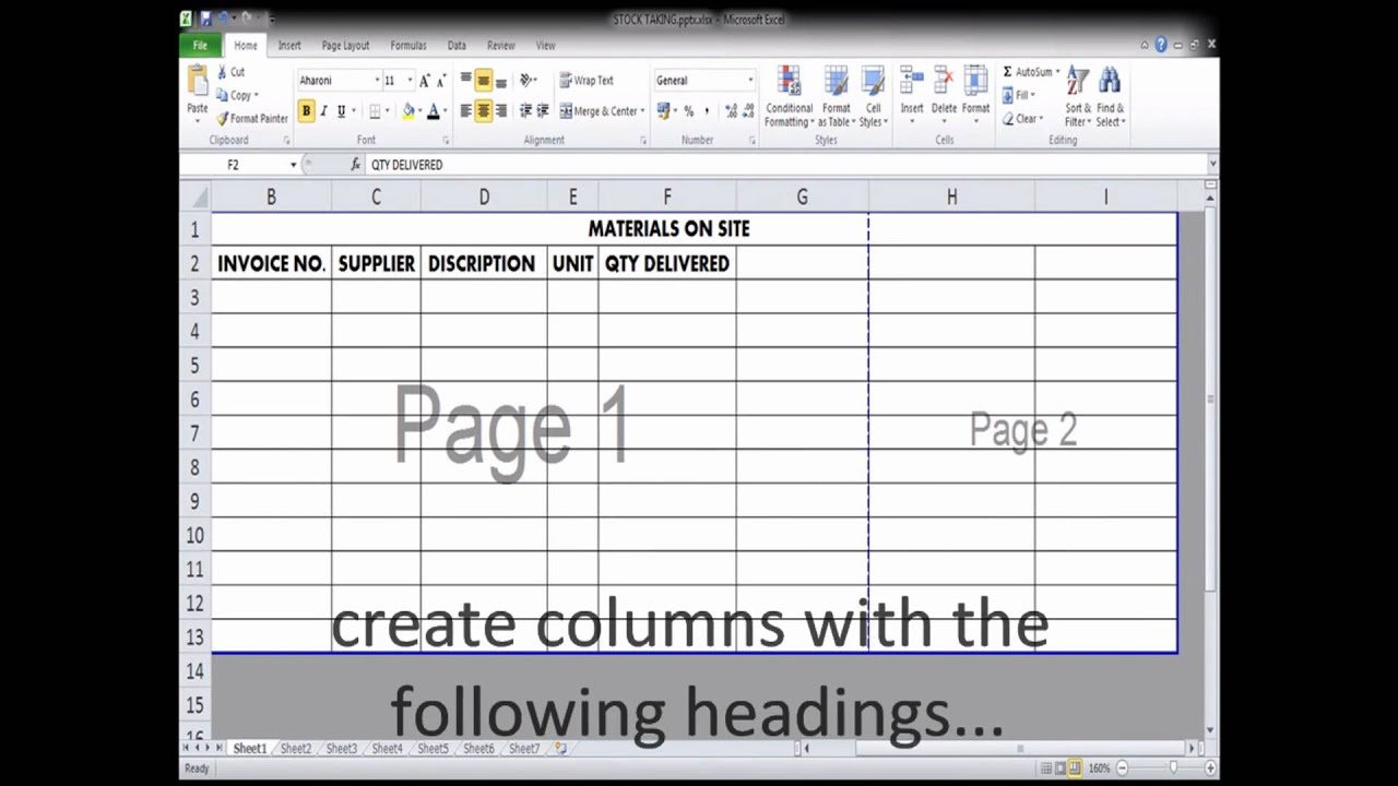 Use Of Excel Spread Sheet By A Quantity Surveyor For Material Stock ... Inside Quantity Surveyor Excel Spreadsheets